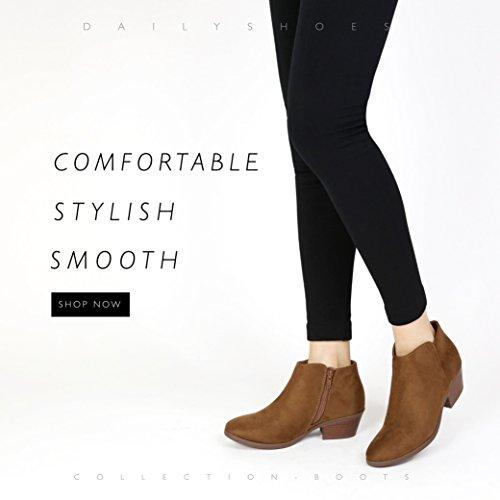 Dailyshoes Womens Western Cowboy Bottines Confortables Talon Chunky Bout Pointu Élégant Cheville Bottes Cognac Sv