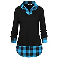 DJT Women's Classic Collar Curved Hem 2 in 1 Knit Pullover Plaid Contrast T-Shirt Top