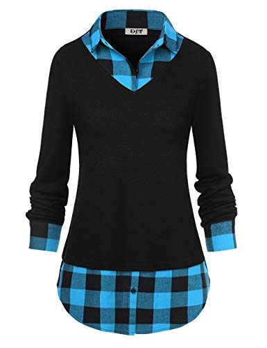 3/4 Pullover Sleeve (Women's Plaid Layered T-Shirt, Curved Hem Buttons Pullover Tops 3/4 Sleeve Sweatshirt T-Shirt Top XL Blue Plaid)