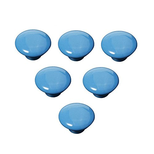 FatColo(TM) Kitchen Handles Pull Drawer Knobs Ceramic Door Cabinets Cupboard Hardware w/Screws (Button shape, Blue,Pack of 6) ()