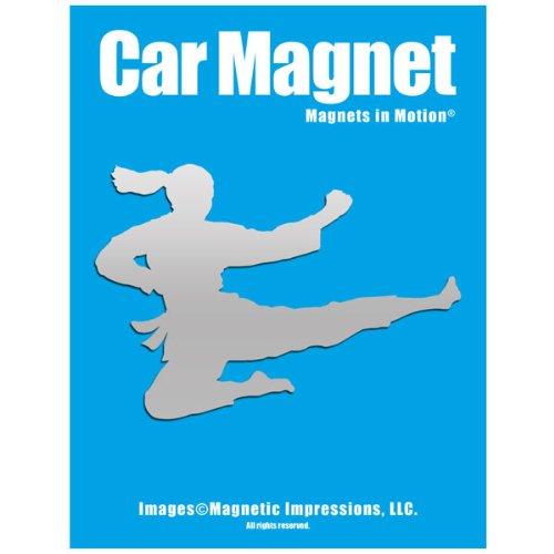 Martial Arts Silhouette - Martial Artist Jumping Female Car Magnet Chrome