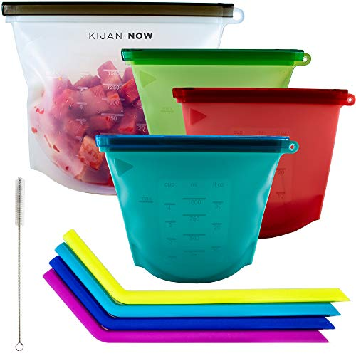 Reusable Silicone Food Storage Bags - Includes LARGE 50 OZ Freezer Bag. Airtight Seal Keeps Food Fresh. Great Sandwich, Lunch, Snack Bag, Cooking Containers. PLUS Eco Friendly Smoothie Straws 4pcs