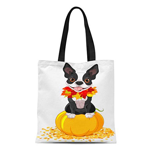 Semtomn Canvas Tote Bag Dog Boston Terrier Sits on Pumpkin Halloween Cartoon Costume Durable Reusable Shopping Shoulder Grocery -