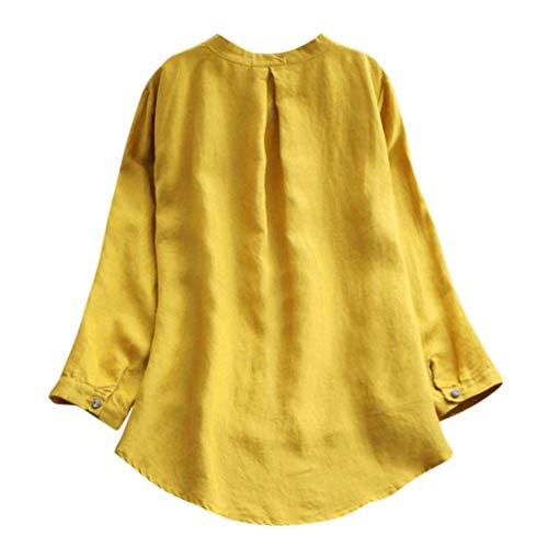 [M-3XL] レディース Tシャツ 大きなサイズ 無地 綿とリネン ボタン 長袖 トップス おしゃれ ゆったり カジュアル 人気 高品質 快適 薄手 ホット製品 普段着 ナイトクラブ ビーチ パーティー 通勤 通学