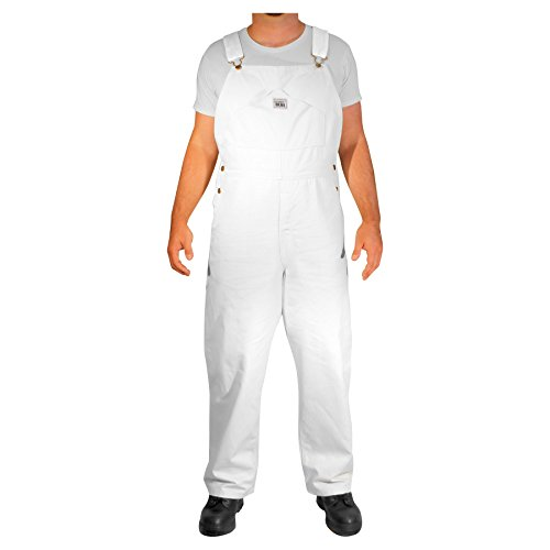 Rugged Blue CSGOVMP1000025786-WHT-30X32 Painter Bib Overalls, English, Cotton, 30 x 32, White