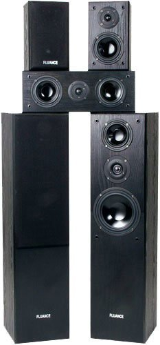 Fluance AVHTB Surround Sound Home Theater 5.0 Channel Speaker System including Three-way Floorstanding Towers, Center and Rear Speakers by Fluance