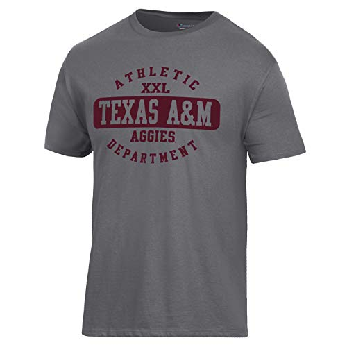 (Champion NCAA Texas A&M Aggies Men's Ringspun Short Sleeve T-Shirt, Granite Heather, Small)