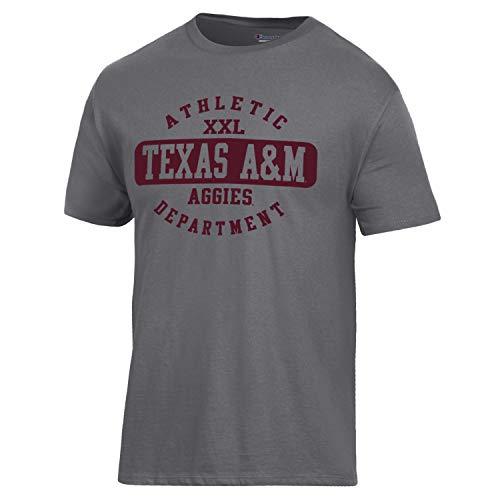 Champion NCAA Texas A&M Aggies Men's Ringspun Short Sleeve T-Shirt, Granite Heather, Small