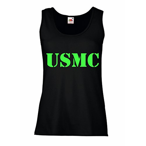 lepni.me N4446P Female Tank top USMC (Large Black Green) (Homeland Security Uniform)
