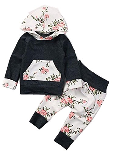 Baby Clothes Set, PPBUY Toddler Floral Hoodie Tops + Pants 2pcs Outfits (12-18M, - Songs Top Special 10 38