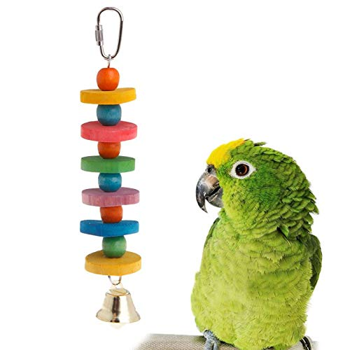 Bird Toys - Parrot Chew Strands Bite Teeth Molar Wooden Beads Ball Bell Sound Attractive Birds Parakeet Products - Perches Kabob Rose Made Rings Hanging Prime African Supplies Perch Parrots Nois (Ring My Bell Bird Toy)