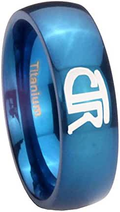 Blue IP Titanium CTR Design Dome Engraved Ring ( 6MM, 8MM ) Size 4 to 13