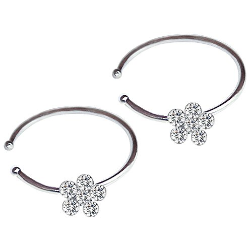 Flowers Hoop Ring (CrazyPiercing 2Pcs Fashion Thin Stud-sparkly Nose Hoop Rings with Cubic Zirconia Jewelry Accessories (Silver))
