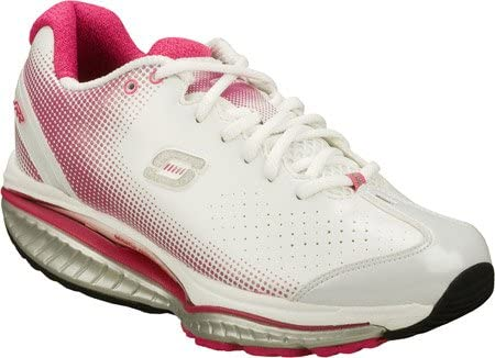 white and pink skechers