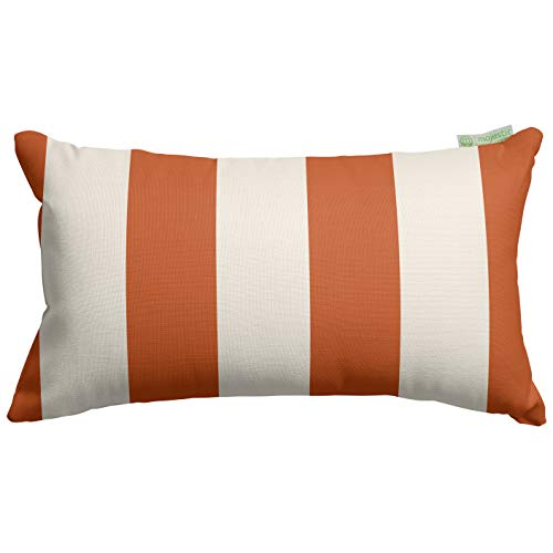 Majestic Home Goods Burnt Orange Vertical Stripe Indoor Outdoor Small Throw Pillow 20 L x 5 W x 12 H