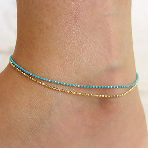 Yalice Double Anklets Seed Beaded Ankle Bracelet Foot Chain for Women and Girls (Gold) (Chain Beaded Double)