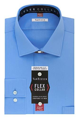 Van Heusen Men's Dress Shirt Regular Fit Flex Collar Stretch Solid, Blue Frost, 17