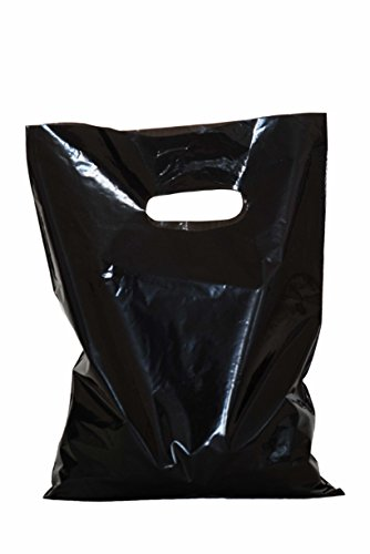 """Merchandise bags: ACME Bag Bros 100 black merchandise bags, plastic merchandise bags w/die cut handles 12x15""""; plastic shopping bags; retail merchandise bags for party, gifts, small retail"""