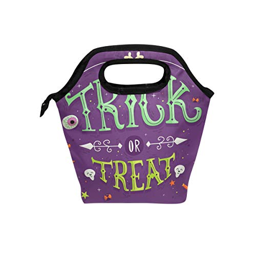 Cute Trick Treat Lunch Bag for Boys Girls Kids Zipper Insulated Lunch Box Bento Case for Men Women ()