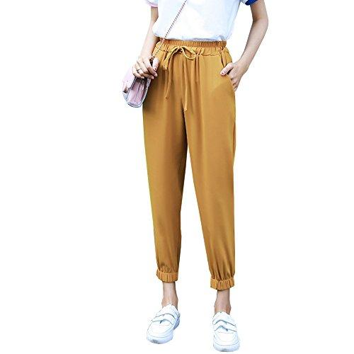 食料品店オーク構想する[RSWHYY] レディース テーパードパンツ ロングパンツ プリーツ リボン付き 裾ゴム 無地 少女 薄い 綺麗