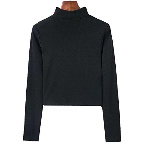 Desshok - Camiseta de manga larga - cuello hálter - Manga Larga - para mujer negro