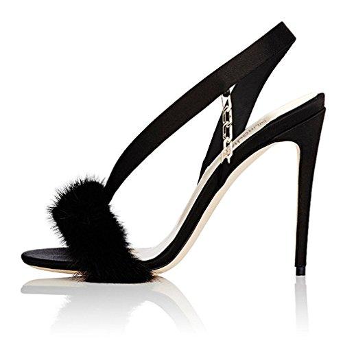 Stiletto Court A Chaussures Talons EU46 LUCKY Forme Chaussures en Hauts Surdimensionnées Sexy EU41 Black CLOVER Ouvertes Plate Orteils Bureau EU40 Satin Talon Peluche Boucle Sandales Partie ORw5q8xw