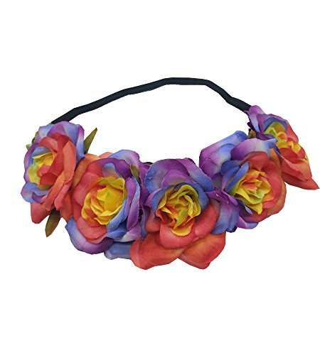 Price comparison product image Sanrich Fake Flower Crowns Headbands For Women Girl Rose Floral Head Piece Maternity Photoshoot Realistic Hair Crown Pet Headband Flower Wreath (rainbow)