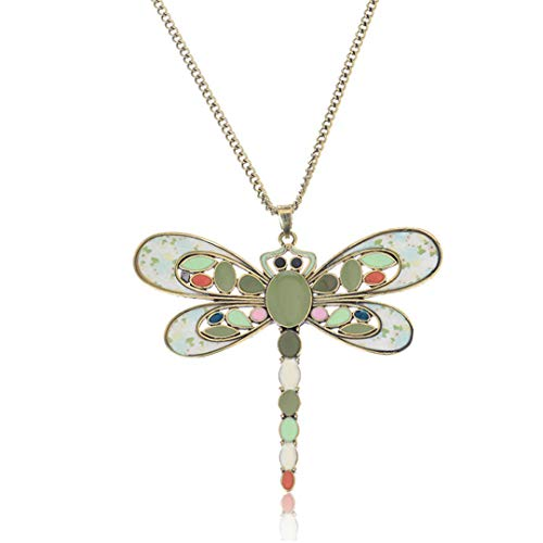 (Dragonfly Shape Necklace For Women Colorful Long Sweater Chain Fashion Female Enamel Jewelry Vintage Handmade Pendant Necklaces)