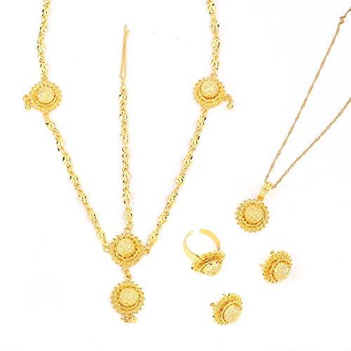 Ethiopian 24k Gold Plated Jewelry Hair Chain Ring Earring Pendant Women Jewelry - 24k Earrings Chain