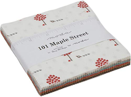 - 101 Maple Street Charm Pack by Bunny Hill Designs; 42-5 Inch Precut Fabric Quilt Squares