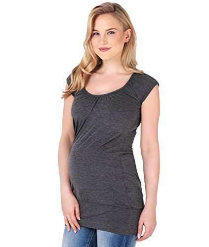 KRISP - Camiseta - Básico - cuello en V - Manga corta - para mujer Carbón