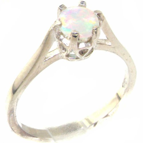 925 Sterling Silver Natural Opal Womens Solitaire Ring   Sizes 4 To 12 Available