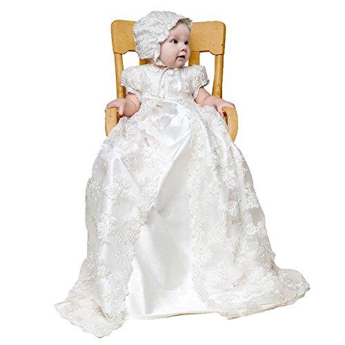 CARAT Stunning Baby Lace Satin Christening Dress Baptism ...