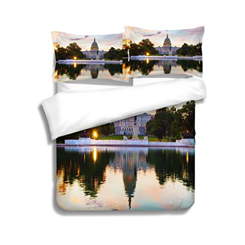 MTSJTliangwan Duvet Cover Set United States Capitol Building in Washington DC 3 Piece Bedding Set with Pillow Shams, Queen/Full, Dark Orange White Teal Coral