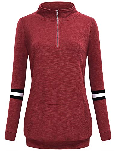 AxByCzD Banded Bottom Tops for Women,Chic Athleisure Quarter Zip Kangaroo Pocket Shirts Simple Basic Solid Long Sleeve Stand Collar Pullover Blouses Juniors Petite Cute Sweatshirts Red XX-Large