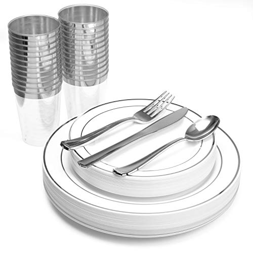 150 Piece Plastic Plates, Silverware & Cups Set - Bulk Silver Rim Dinner & Salad Disposable Plates, Cups, Spoons, Forks & Knives for Wedding or Party]()