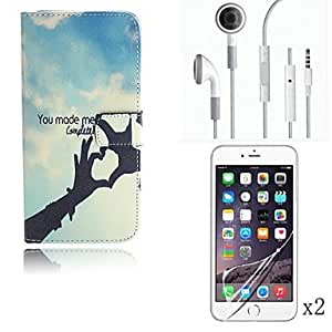 LCJ Hand Pattern PU Leather Full Body Case with Card Slot Cover with Protective Film 2 Pcs and Headset for iPhone 6