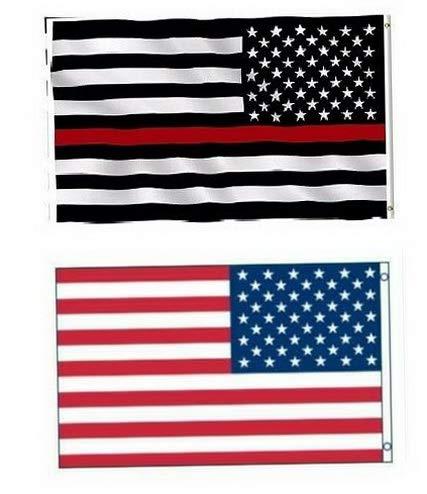 Kaputar 3x5 USA Flag American Flag USA Red Line Flag Fireman 2 Flag Set Model FLG - 6534