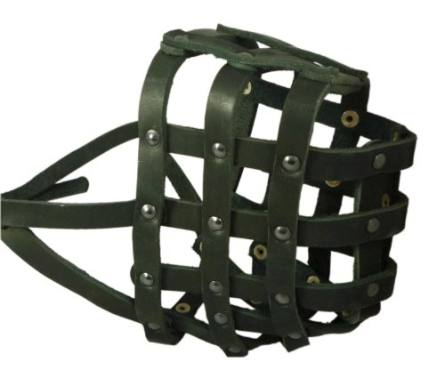 Real Leather Dog Basket Muzzle #115 Black (Circumference 18, Snout Length 4.7) Mastiff, Great Dane by Dogs My Love