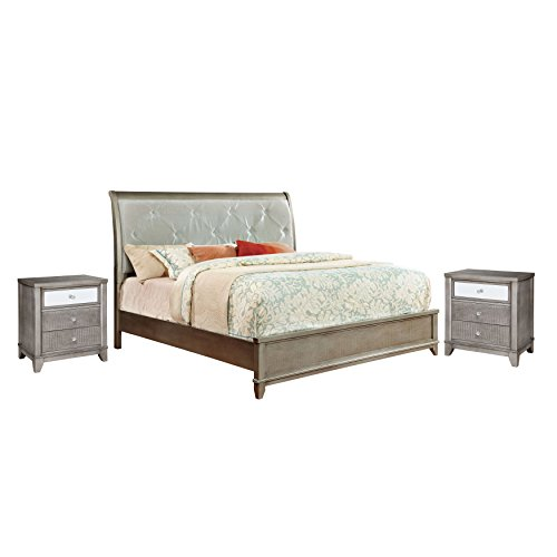 HOMES: Inside + Out 3 Piece ioHOMES Junie Bed Set with 2 Nightstands, California King, Silver by HOMES: Inside + Out