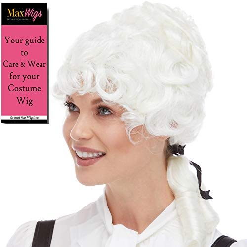Colonial Lady Woman Color WHITE - Sepia Wigs Ponytail Patriot Revolution Aristocrat Historical Synthetic Cosplay Halloween Dress Up Fancy Coloniel Hamilton Bundle MaxWigs Hairloss Booklet ()
