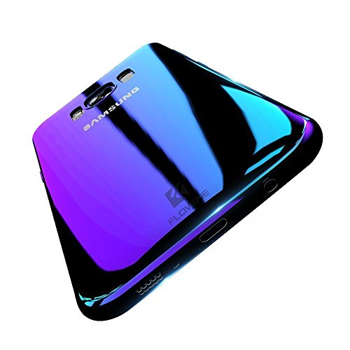 FLOVEME Wireless Charger Samsung Galaxy S8 Plus Case, Slim Fit Gradual Colorful Gradient Change Color Ultra Thin Lightweight Electroplating Bumper Anti-Drop Clear Hard Back Cover, Transparent Purple