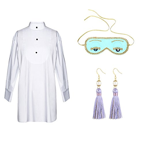 Utopiat Sleep Set - Audrey Hepburn Breakfast at Tiffany's, Shirt, Mask, Tassel (Ensemble Christmas Holly)