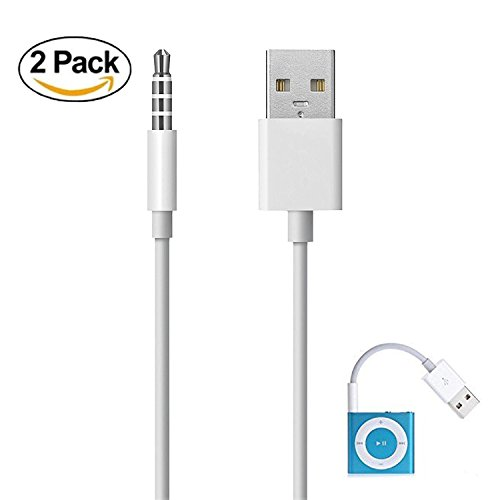 iPod Shuffle Cable, Worice 2 Pack 3.5mm Jack / Plug to USB Charger Sync Data Transfer Charging Cable for Apple iPod Shuffle 3rd / 4th / 5th / 6th / 7th Generation