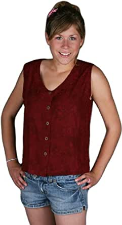 Button Blouse Embroidered Burgundy Large Amazon Women Clothing Store Sleeveless Shell