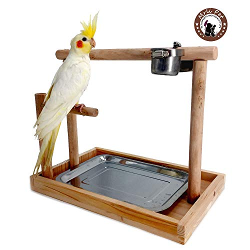 (Mrli Pet Parrots Playstand Bird Playground Wood Perch Gym Training Stand Playpen Bird Toys Exercise Playgym for Electus Cockatoo Parakeet Conure Cockatiel Cage Accessories Exercise Toy (Include a)