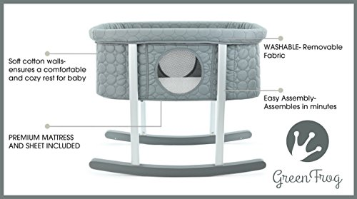 Baby Bassinet Cradle Includes Gentle Rocking Feature, Great for Newborns and Infants Safe Mattress Includes wheels for Easy Movement High End Washable Fabric Lightweight & Transportable (Grey)
