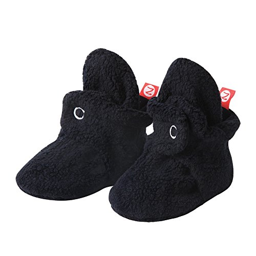 Zutano Cozie Fleece Baby Booties with Cotton Lining, Unisex, for Newborns, Infants, and Toddlers, Black, 3M