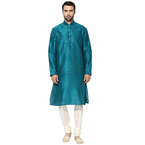 KISAH Men's Teal Blue Dupion Silk Solid Kurta Churidar Set by KISAH