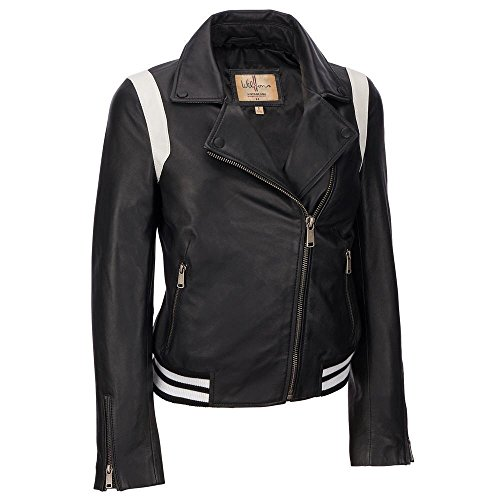 Wilsons Leather Womens Asymmetric Leather Bomber W/White Stripe Accents XS Blac by Wilsons Leather